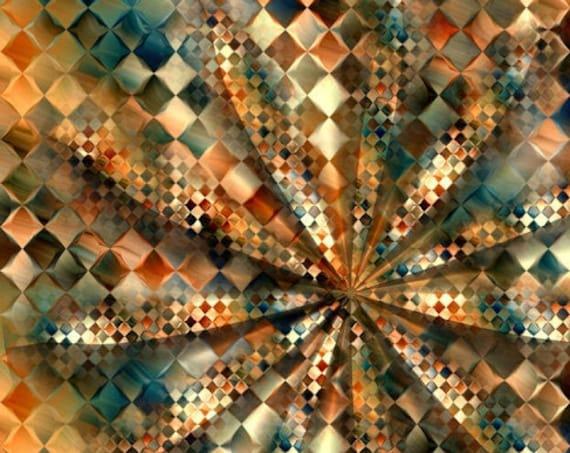Handmade Chercker Board Fall Colors Artisan Textile Art Velvet Upholstery Fabric Fiber Art