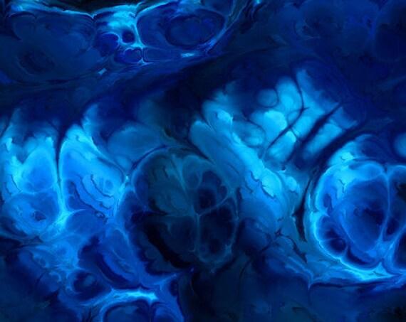 Artisan Handmade Spandex Knit Blue Navy Fabric By The Yard Athletic Apparel Swimwear Swim Suit Marble