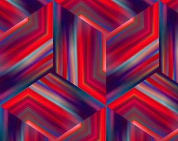 Red Blue 3D Cubes Artisan Made Sateen Cotton Textile Fabric Vibrant Home Decor Drapery Pillows