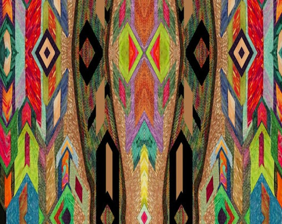 Artisan Made Fleece Fiber Art Fabric Ethnic Southwestern By The Yard Home  Blanket