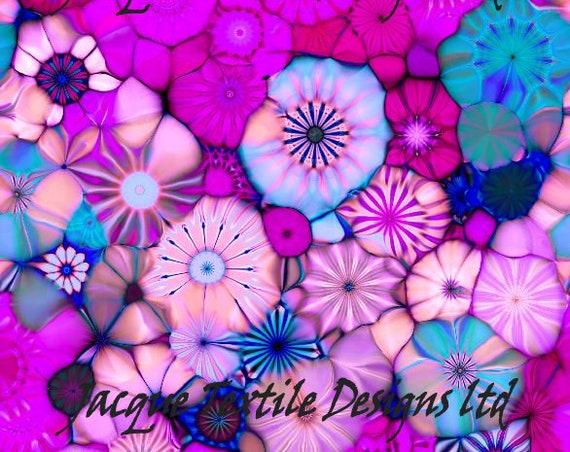 Pink Purple Blue Handmade Velvet Upholstery Fabric Kaleidoscope Shimmer Fiber Art Fabric