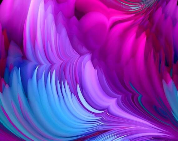 Artist Made Blue Violet Pink Fashion Crepe de Chine Fabric Fiber Art Apparel Sheer Home Decor