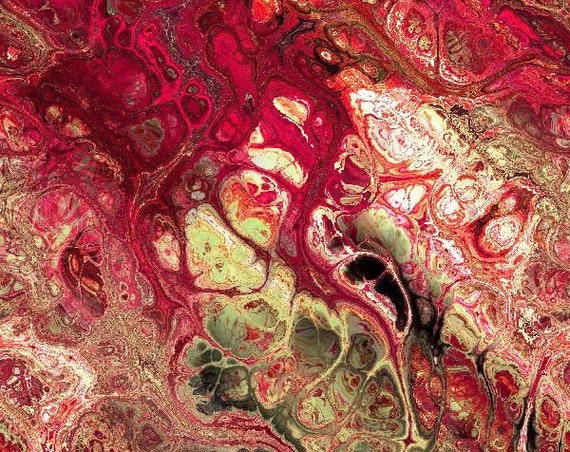 Minky Fabric Red Pink Marble Soft Luxurious Blanket Fabric Fiber Art