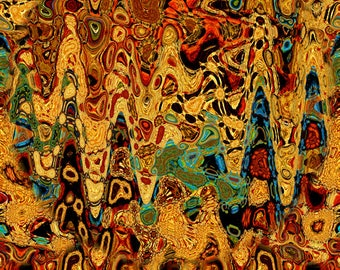 Golden Waves Abstract Artist Hand Created Artisan Crepe de Chine Fabric Fiber Art Apparel Sheer Home Decor