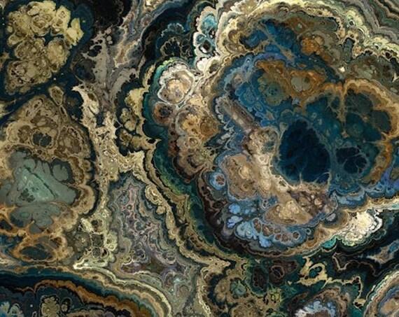 Velvet Upholstery Fabric Brown Blue Agate Rock One of a Kind Handmade Commercial Grade Fabric Fiber Art