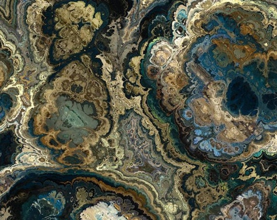Handmade Agate Brown Blue Satin Fabric By The Yard Fiber Art