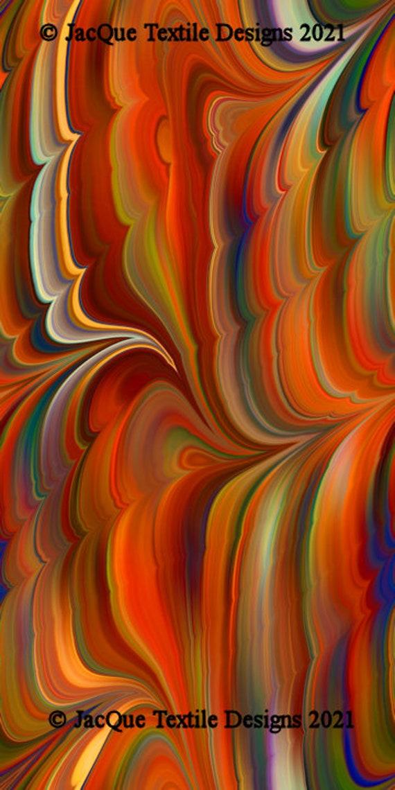 Velvet Upholstery Fabric Marble Swirls of Color Fall Tones Fiber Art