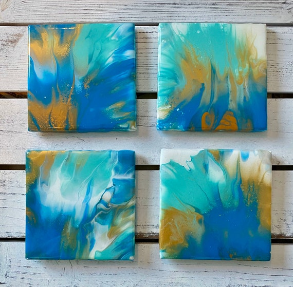 Coaster Set of 4 Ocean Blue Green Gold Handmade Ceramic Tile Painted Artisan Made Gift Idea Home Decoration