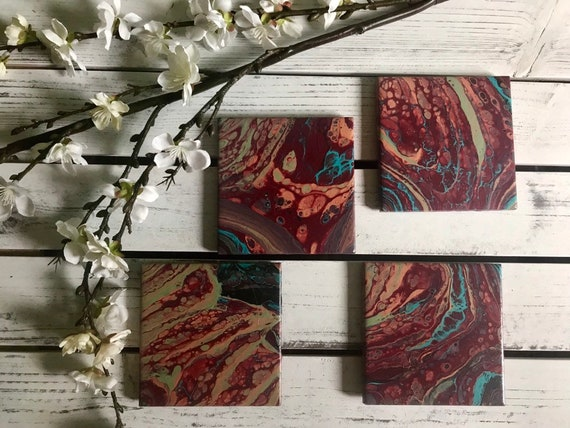 Drink Coasters Hand Painted Red Colorful Handmade Ceramic Tile Coaster Set of 4 Painted Artisan Made Gift Idea Home Decoration