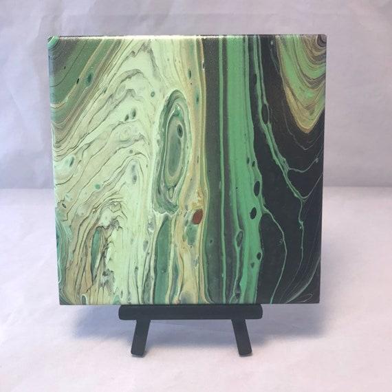 Green Tones Gold Cream BlackHandmade Painting Ceramic Tile Coaster Trivet Painted Artisan Made Gift Idea