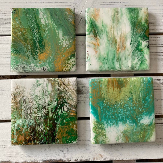 Coaster Set of 4 Green Gold Hand Painted Ceramic Tile Painted  Artisan Made Gift Idea Home Decoration
