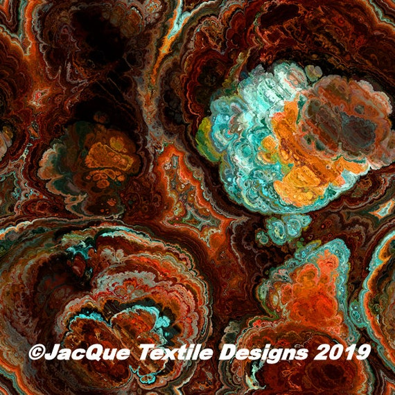 Rust Orange Turquoise Artist Created Satin Fabric Fiber Art Marble Fabric Abstract Rich Fashion