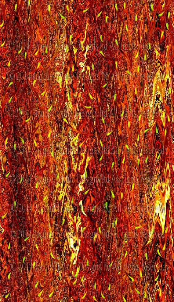 Designer Flames Brown Fall Colors Artist Created Satin Fabric Fiber Art Abstract Rich Fashion