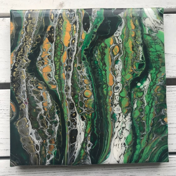 6 inch Trivet Gold Green Grass One of A Kind Resin Handmade Abstract Tile Coaster Painted Artisan Made