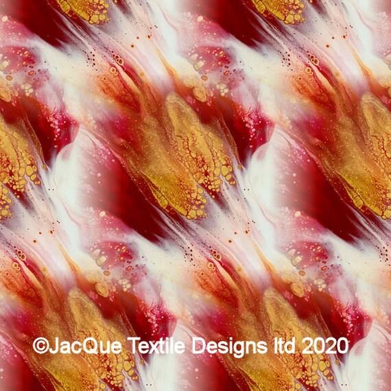 Velvet Upholstery Red Golden Hand Created Fabric Fiber Art Modern Fabric