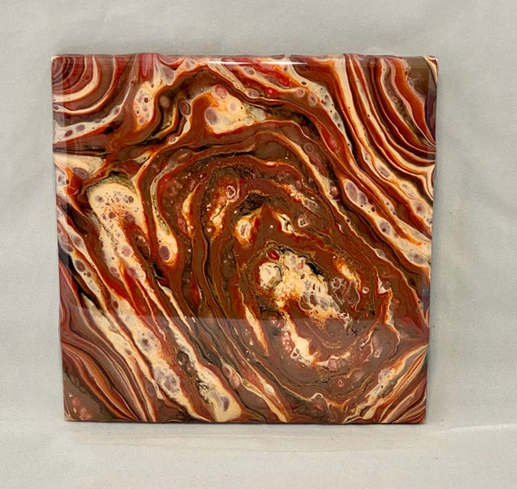 Trivet 6 inch Resin Swirl's Handmade Tile Coaster Painted Artisan Made