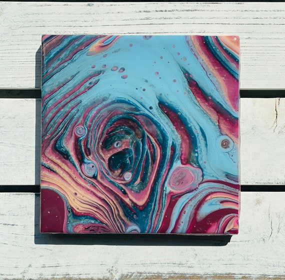Tile Blue Burgandy Trivet Handmade Resin Epoxy Copper Ceramic Tile Coaster Artisan Made Gift Home Decoration