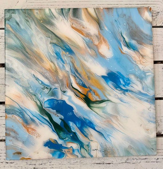 12 inch Square Plate Platter Centerpiece Resin Gold Silver Ocean Blue Waves UNIQUE Handmade Painted Artisan Made