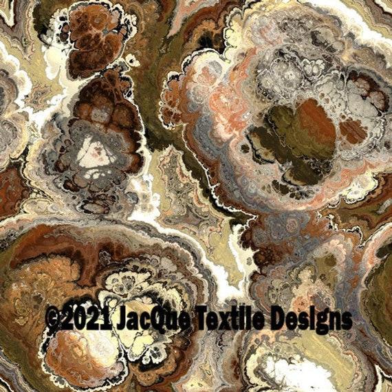 Velvet Upholstery Fabric Hand Created Brown Marble Agate Fiber Art Modern Fabric