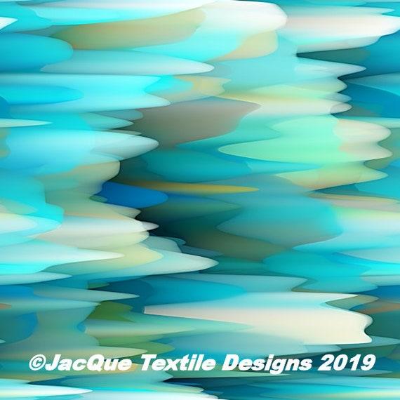 Glacier Blue Icicles Handmade Artisan Textile Art Jersey Spandex Knit Fabric