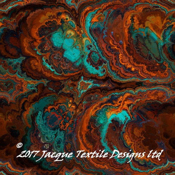 Artist Handmade Teal Brown Burnt Orange Abstract Crepe De Chine Kaftan Fabric Apparel Sheer Home Decor