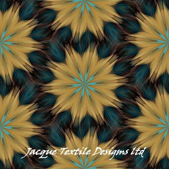 UNIQUE Handmade Starry Night Blue Golden Velvet Upholstery Fabric Shimmer Fiber Art Fabric