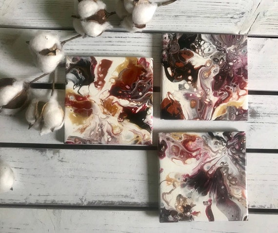 Painting One of a Kind Handmade Ceramic Tile Drink Coaster Set of 3 Artisan Made Gift Idea