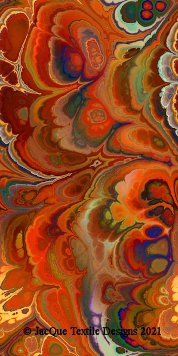 Southwestern Colors Velvet Upholstery Fabric Marble Swirls of Color Fiber Art