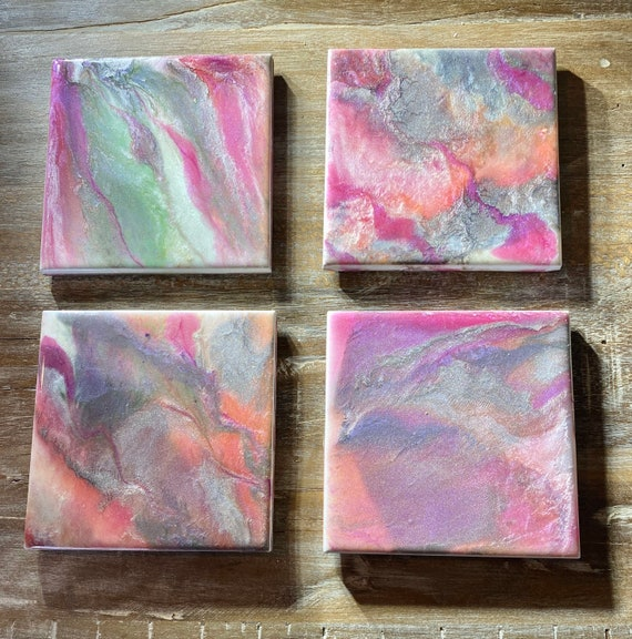 4.25 inch Pearlized Pink Silver Peach Handmade Ceramic Tile Coaster Set of 4 Painted Copper Gold Artisan Made Gift Idea