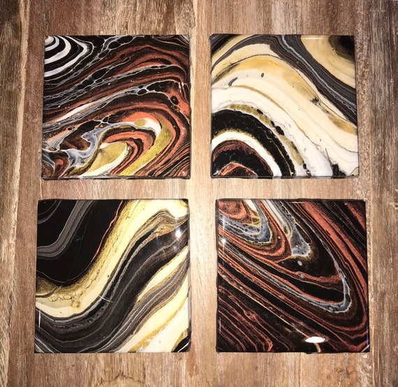 Free Shipping Ceramic Tile Coaster Set of 4 Painted  Gold Copper White Black Artisan Made Gift Idea Home Decoration
