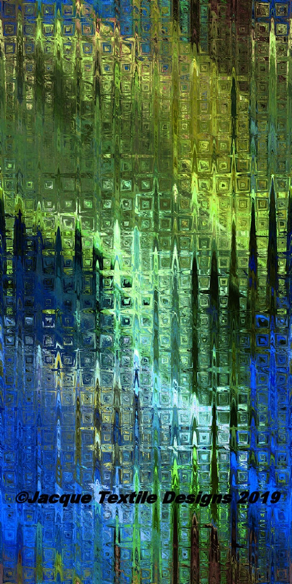 Blue Green Icicles Modern Artist Created Satin Fabric Fiber Art Marble Abstract Rich Fashion