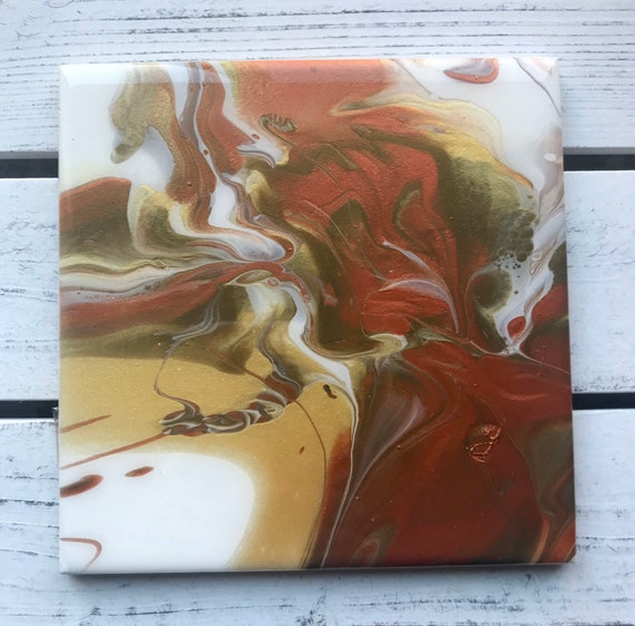 6 inch Trivet Gold Copper Bronze One of A Kind Resin Handmade Abstract Tile Coaster Painted Artisan Made