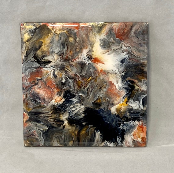 Trivet 6 inch Resin Abstract Handmade Tile Coaster Painted Artisan Made