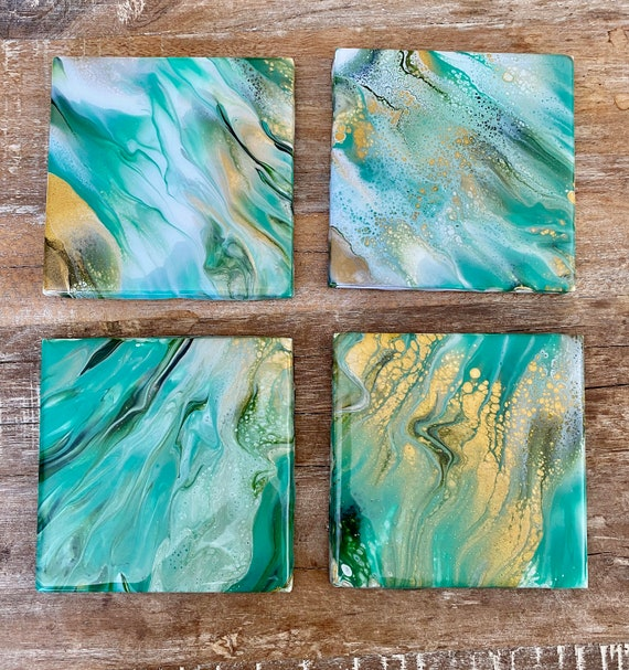 4.25 inch Green Gold Handmade Ceramic Tile Coaster Set of 4 Painted Copper Gold Artisan Made Gift Idea