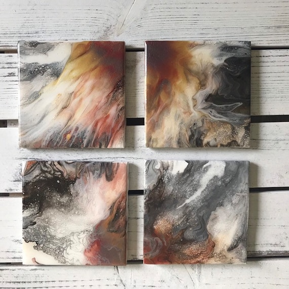 UNIQUE Rich Colors Rose Gold Copper Gold Ceramic Tile Coaster Set of 4 Painted  Artisan Made Gift Idea Home Decoration