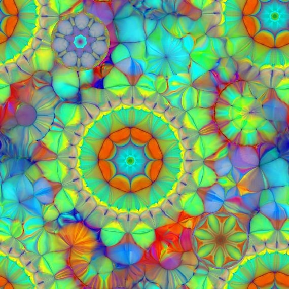 Vibrant Kalidescope Pastel Artist Made Chiffon Kaftan Fabric Apparel Sheer Home Decor
