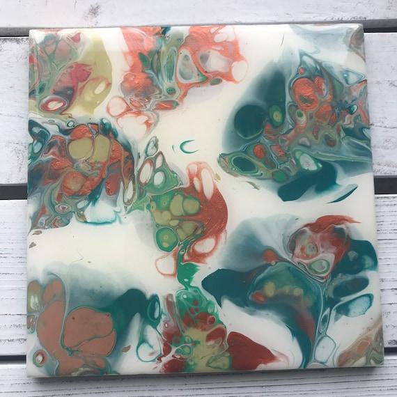 Art 6 inch Trivet Copper Green Blue Resin Handmade Abstract Tile Coaster Painted Artisan Made