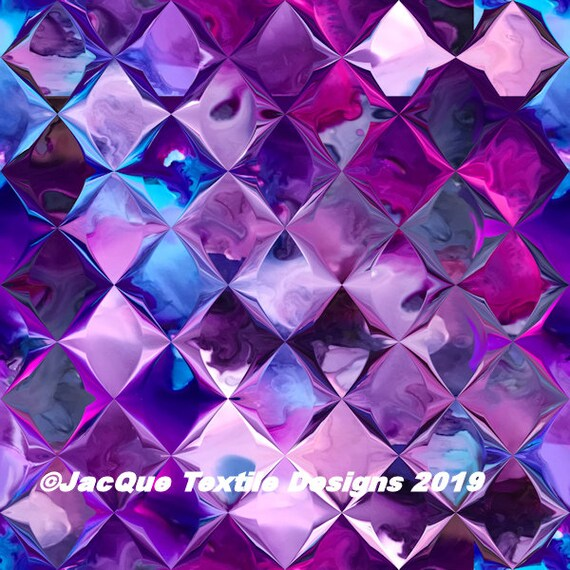 Purple Pink Blue Artist Created Satin Fabric Fiber Art Diamonds Fabric Abstract Designer Fashion