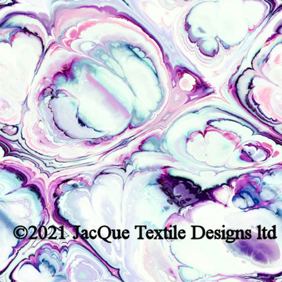 Watercolor Marble Artisan Made Sateen Cotton Textile Fabric Vibrant Home Decor Drapery Pillows