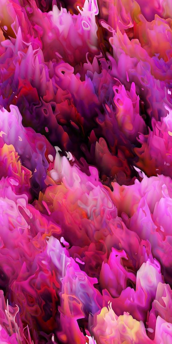 Hand Created Artist Lavender Purple Pink Orange Cotton Upholstery Canvas Fabric Fiber Art
