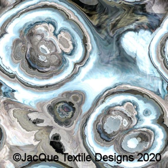 Hand Created Slate Grey Tan Blue Agate Velvet Upholstery Fabric Fiber Art Modern Fabric