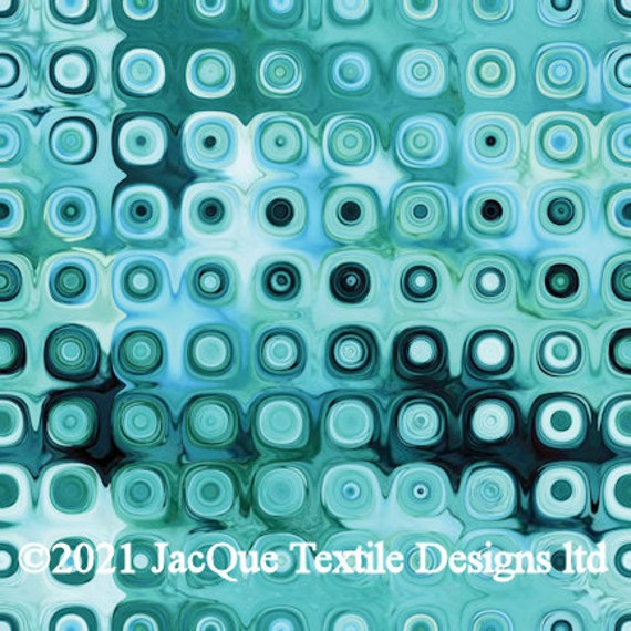 Artisan Textile Art Velvet Upholstery Blue Green Dots Fabric Fiber Art Fabric