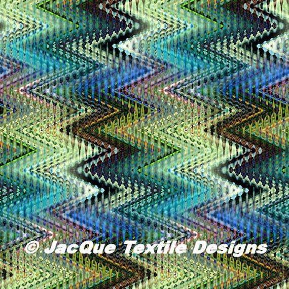 Artist Cotton Canvas Upholstrey Zig Zag Made Textile Green Marble Fabric Fiber Art Abstract