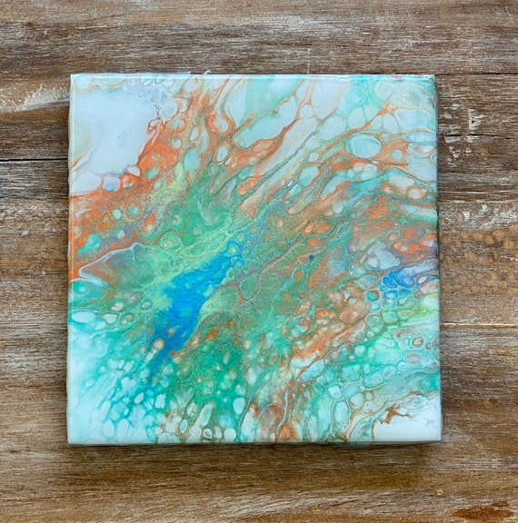 6 Inch Trivet Galaxy Of Colors Metallic Paint Supernova Handmade Ceramic Tile Coaster Painted Artisan Made