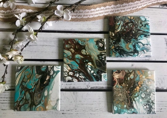 Hand Painted  Art Gold Turquoise Handmade Ceramic Tile Coaster Set of 4 Painted Artisan Made Gift Idea Home Decoration