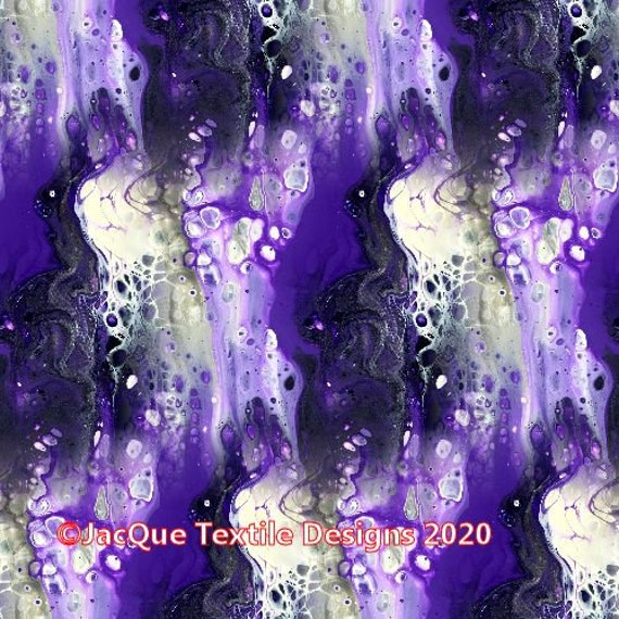 Satin Fabric Handmade Textile Purple Lightening Storm Artisan Fiber Art Marble Radiant Colors