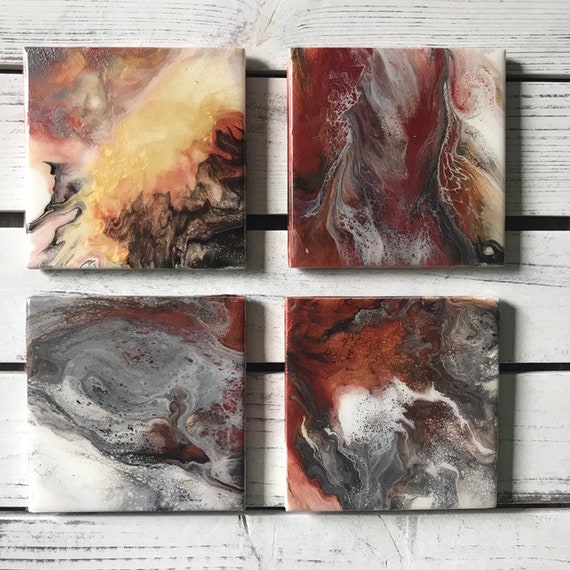 Rose Gold Copper Gold Black Ceramic Tile Coaster Set of 4 Painted  Artisan Made Gift Idea Home Decoration