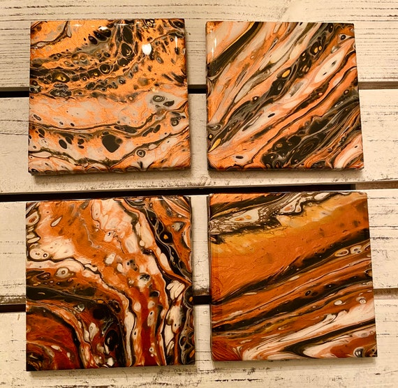 4 inch One of a Kind Handmade Ceramic Tile Coaster Set of 4 Painted Copper Gold Artisan Made Gift Idea