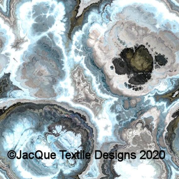 Handmade Artisan Blue Grey Tan Textile Art Velvet Upholstery Fabric Fiber Art Fabric