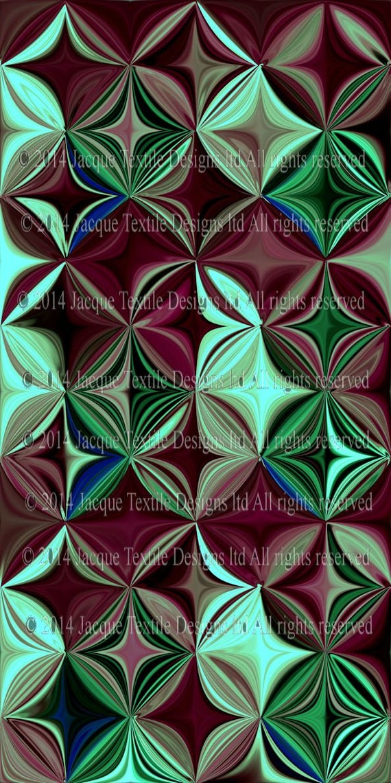 Mint Green Abstract Flower Artist Made Vibrant Silky Fabric Fashion By The Yard Home Decor
